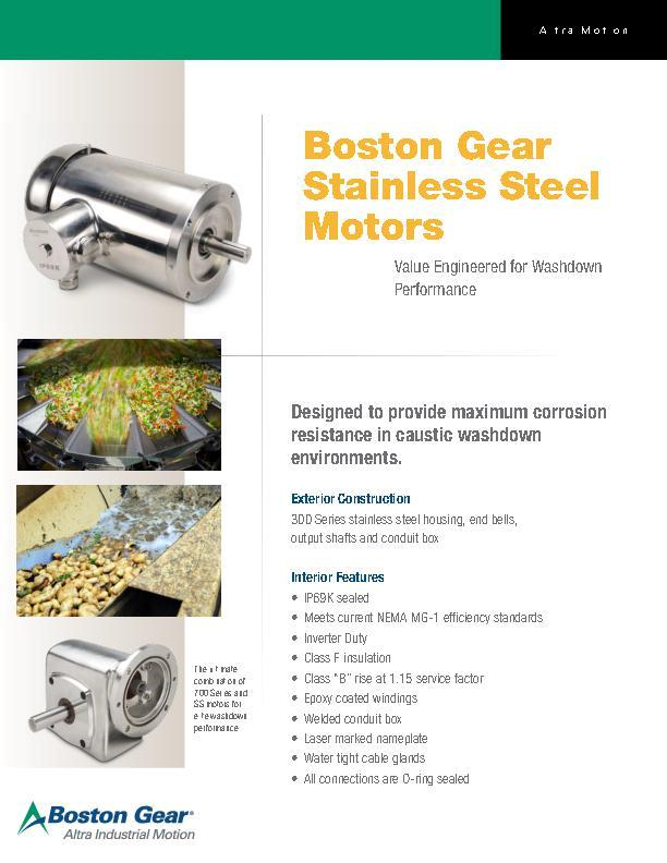 Boston Gear Stainless Steel Motors Boston Gear Literature