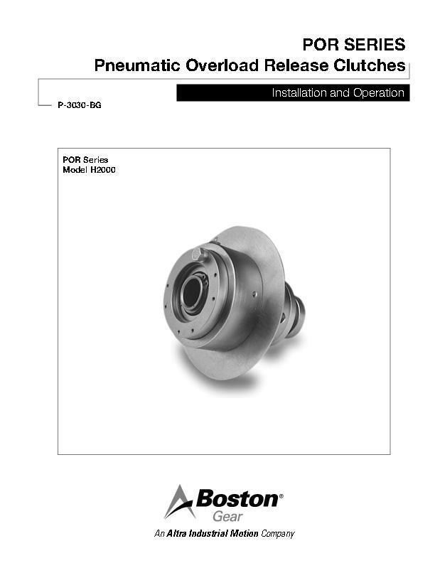Boston Gear P-3009-BG Installation and Operation Manual Gears ...