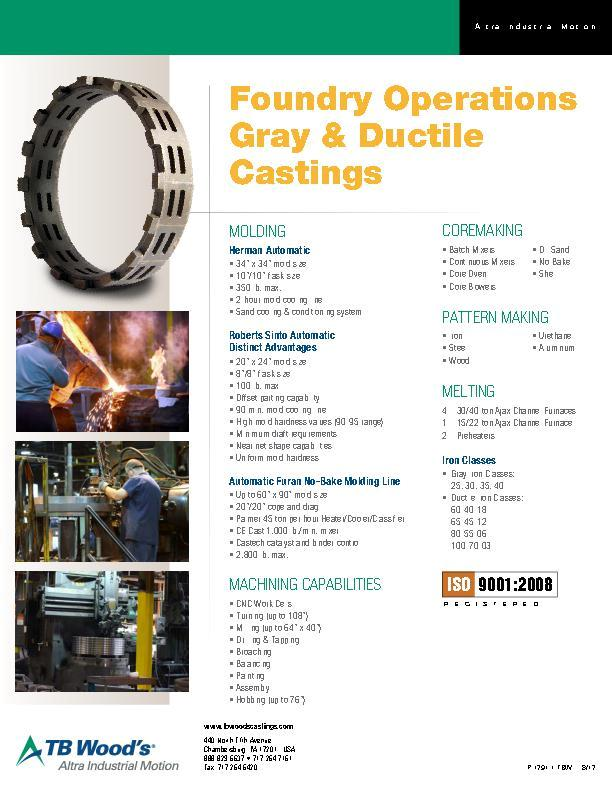 Foundry Operations Gray & Ductile Castings