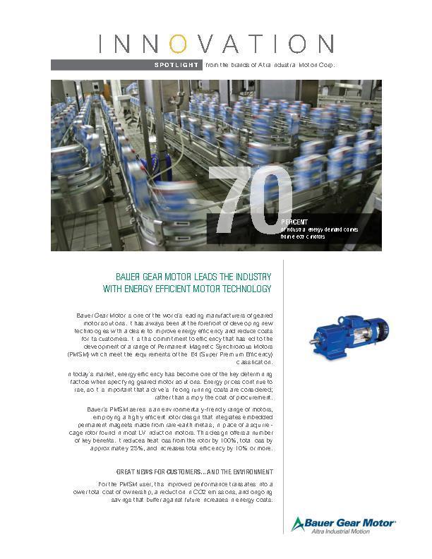 Innovation Spotlights Bauer Gear Motor