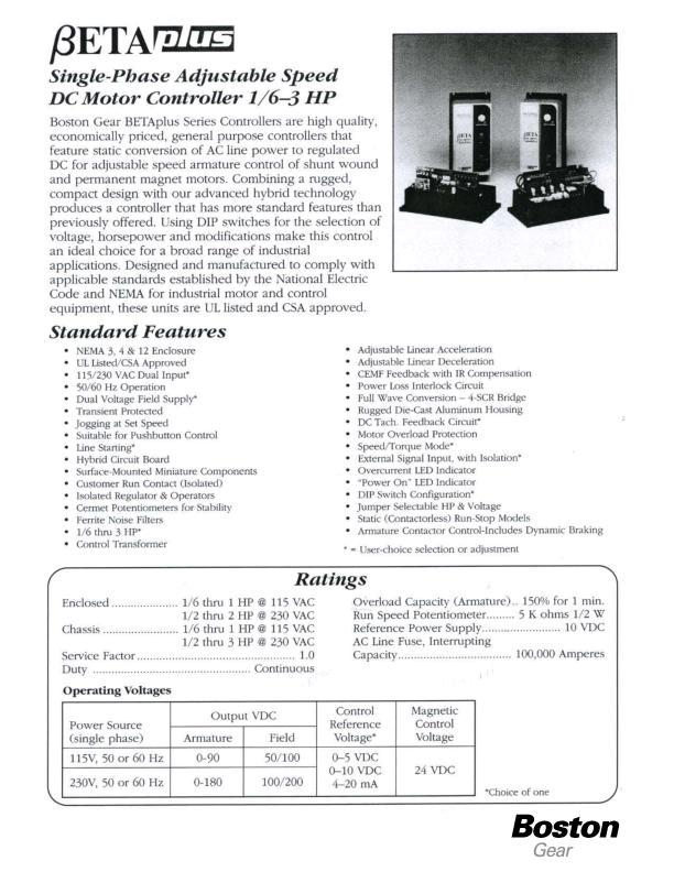 Betaplus Single Phase Adjustable Speed Dc Motor Controller